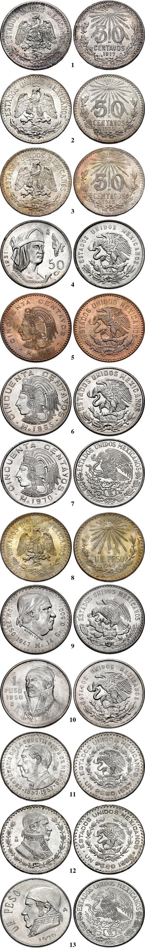 """447 MEXICO-1943 Mo  Estados Unidos Mexicanos 50 CENTAVOS Silver   /""""BU/""""      KM#"""
